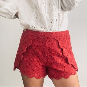 Francesca's Alya Red Crochet Layered Flap Shorts